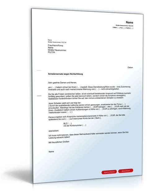 Brief Zu Lieferverzug schadensersatz wegen nicht erbrachter dienstleistung muster vorlage zum