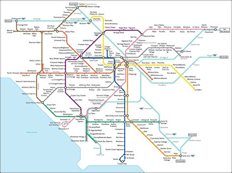 los angeles subway map l a subway map what los angeles would look like with a comprehensive rail system l a