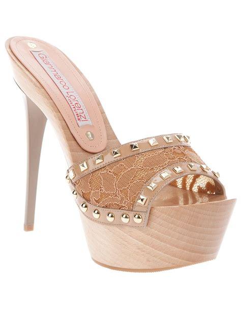 high heel mule slippers gianmarco lorenzi lace platform mule shoes
