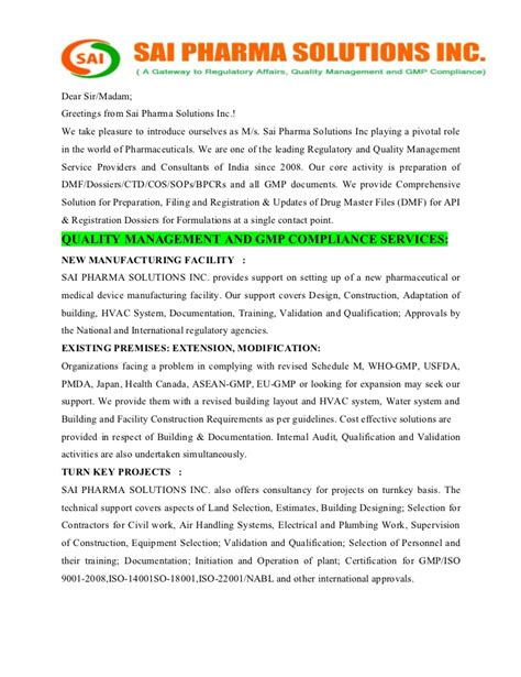 Introduction Letter Of Pharma Company Sai Pharma Solutions Regulatory And Quality Management Service Provi
