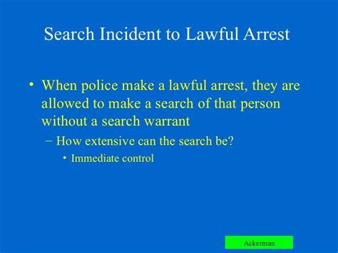 Exceptions To The Search Warrant Requirement Chapter 6 Ackerman