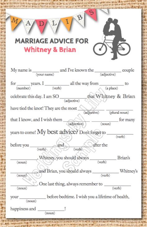 mad libs for wedding guests wedding mad libs printable
