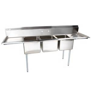 103 quot stainless steel 3 compartment commercial sink with 2