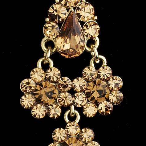 Brown Chandelier Earrings Dazzling Gold Light Brown Chandelier Earrings E 940