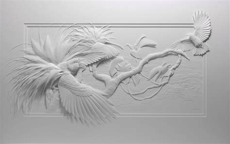 paper bird sculpture delicate layered paper sculptures of birds and other