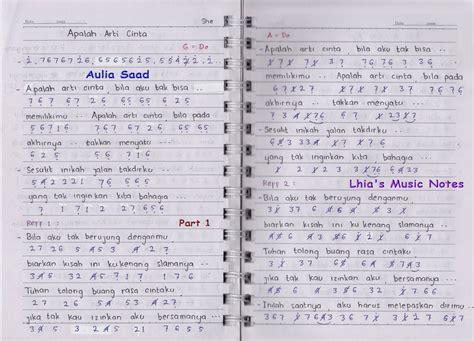 not angka lagu makna cinta not angka she apalah arti cinta lhia s music notes