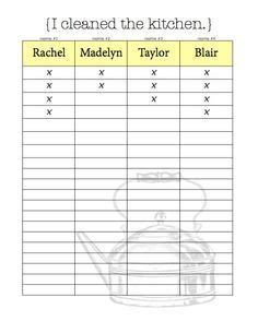 Printable Roommate Chore Chart