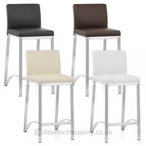 Breakfast Bars And Stools Brushed Real Leather Kitchen Breakfast Bar Stool Ebay