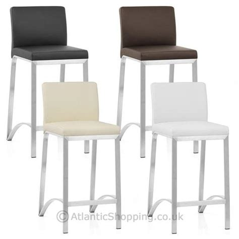 real leather breakfast bar stools leah brushed real leather kitchen breakfast bar stool ebay