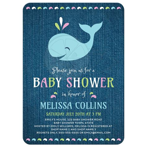 Blue Whale Baby Shower Invitations by Whale On Blue Denim Baby Shower Invitation