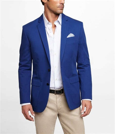 8 Menswear Inspired Looks by Express Blue Twill Blazer On Wantering 99 Sale Price