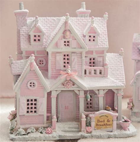 shabby pink chic bed breakfast christmas village house