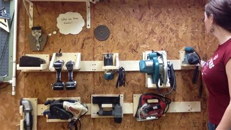 Tools Organizer Garage - diy power tool storage system using a french cleat system