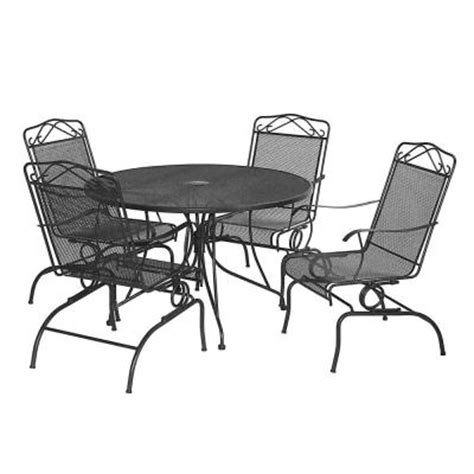 Black Wrought Iron Patio Furniture Sets by Black Wrought Iron 5 Patio Dining Set