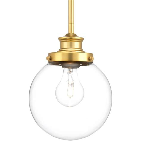 Progress Lighting Pendant Progress Lighting Penn Collection 1 Light Brass Mini Pendant P5067 137 The Home Depot