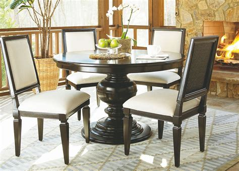 pedestal dining room set summer hill brown single round pedestal extendable dining