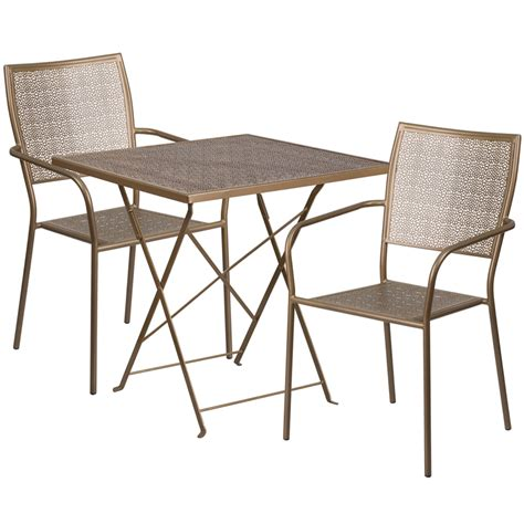 28 square gold indoor outdoor steel folding patio table