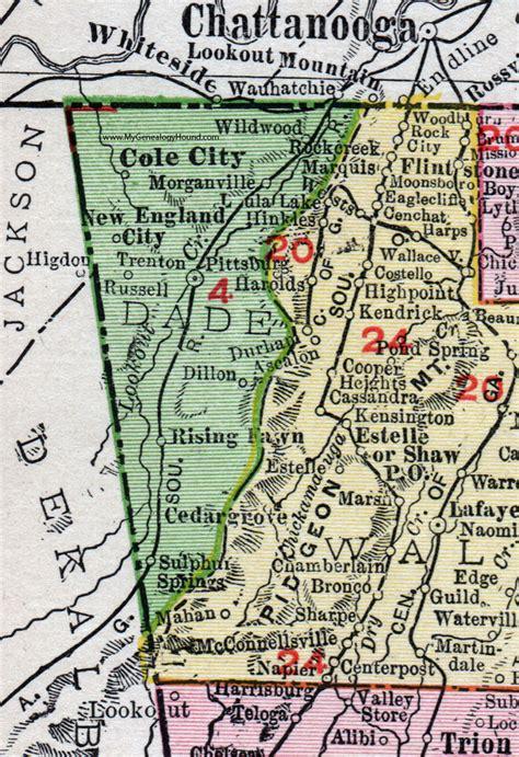 Dade County Ga Records Dade County 1911 Map Rand Mcnally Trenton Rising Fawn Wildwood