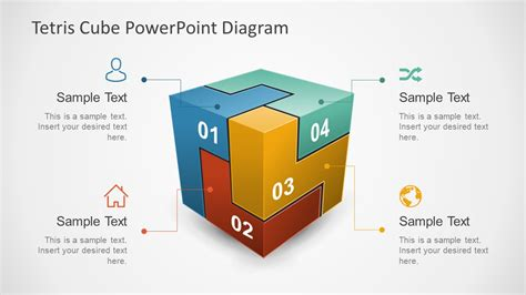Powerpoint Cube Template 3d Tetris Cube Powerpoint Diagram Slidemodel