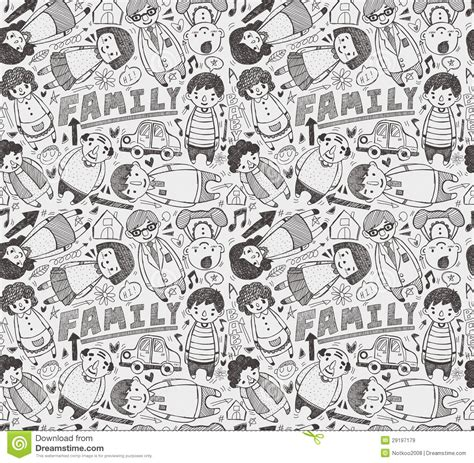 doodle family seamless doodle family pattern stock vector illustration