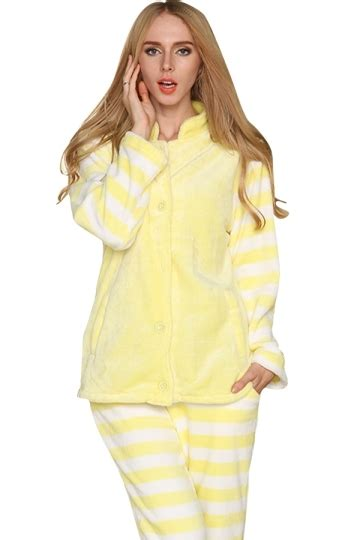 Stripe Yellow Pajamas womens pretty flannel striped sleeve pajamas yellow