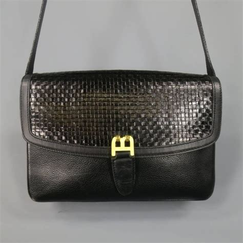Handbag Clutch Bally Black vintage bally black woven and pebbled leather shoulder