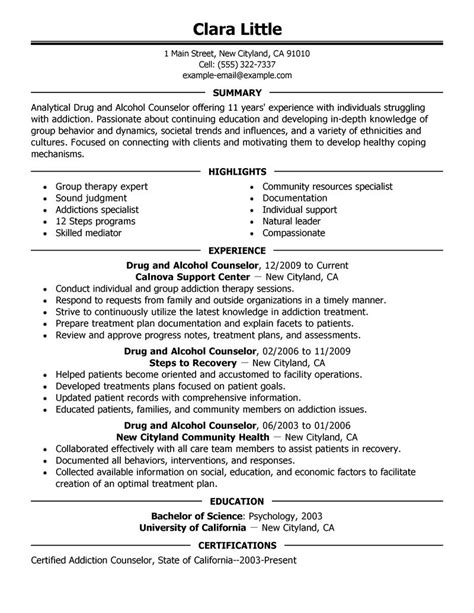 substance abuse counselor resume best and counselor resume exle livecareer