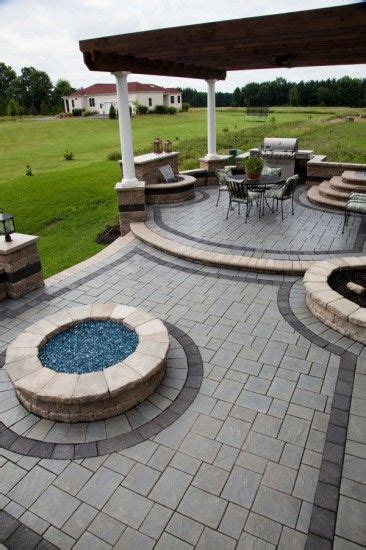 Leveling Patio Pavers Richcliff 174 Multi Level Patio With Pit Patio Patios Backyard And Yards