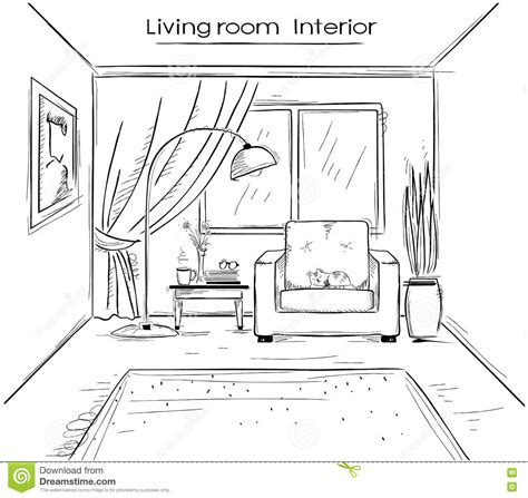Living Room Drawing Picture Sketchy Illustration Of Living Room Interior Vector Black