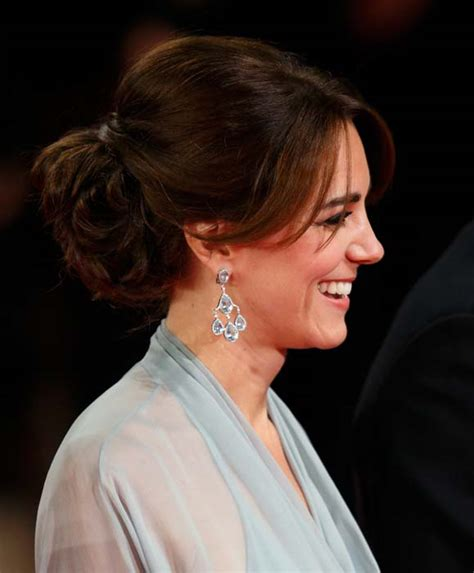 kate middleton s shocking new hairstyle kate borrows mother carole s earrings for spectre premiere