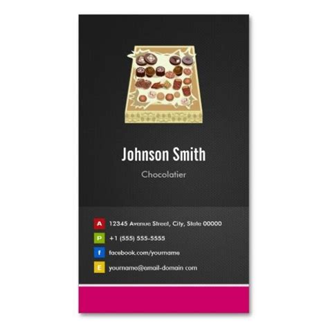 chocolate business card templates box of chocolate chocolatier creative innovative
