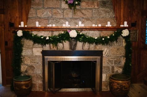 Fireplace Wedding Altar by Cozy Cottage Wedding In Michigan