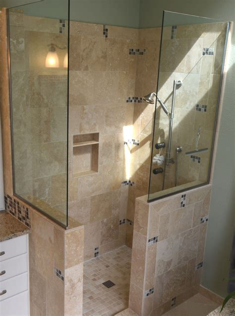 Showers Without Glass Doors Doorless Tile
