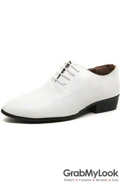 patent leather white lace up point mens oxfords shoes