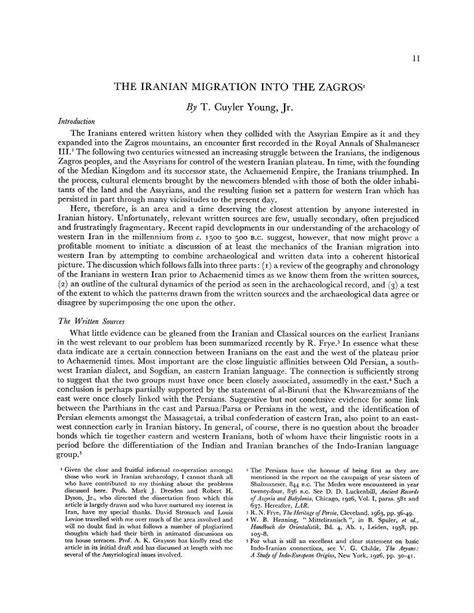 T. Cuyler Young, Jr. The Iranian Migration into the Zagros