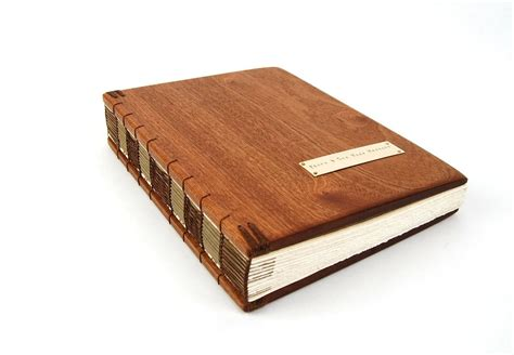 book in with picture made handmade guest book mahogany wood book large