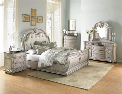 piece homelegance palace ii white wash sleigh bedroom set