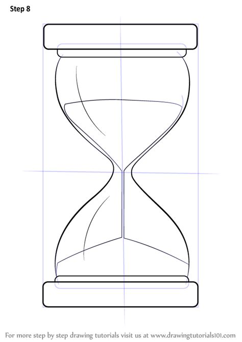 Learn How to Draw an Hourglass (Everyday Objects) Step by Step : Drawing Tutorials