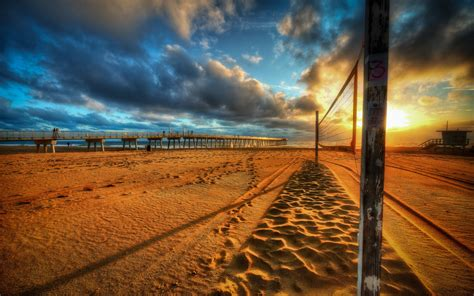 beach pier sea sunset wallpapers beach pier sea sunset