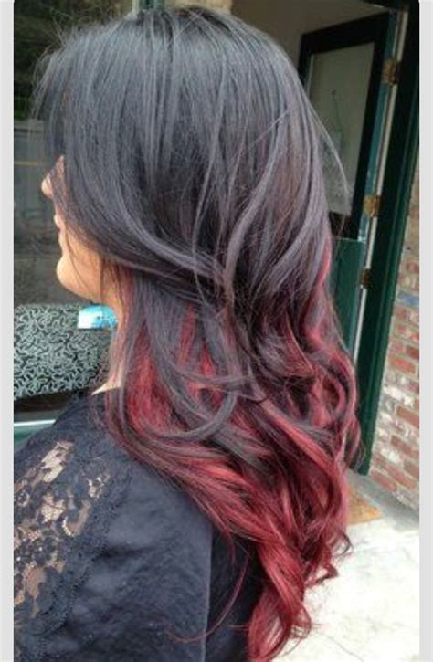 dark hair with highlights underneath blood red highlights black to red under hair ombr 233 make up hair nails