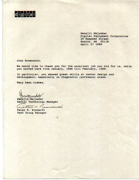 Employment Letter Of Recommendation Employment History