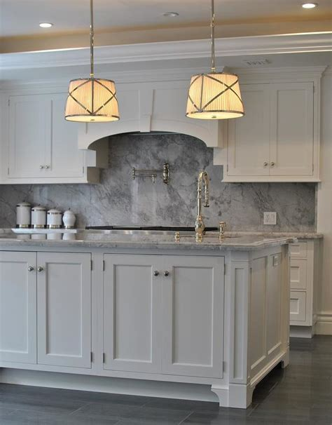 White And Grey Marble Countertops by Grey Kitchen Cabinets Backsplash Quicua