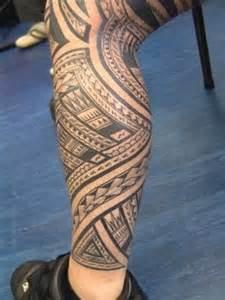 hawaiian tribal tattoo on leg for men