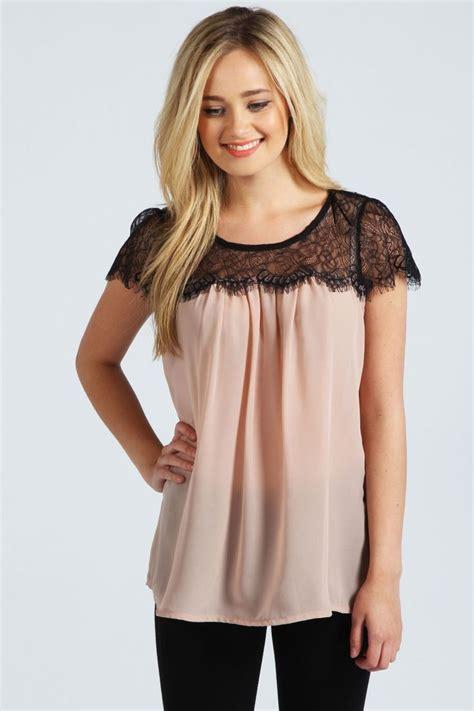 Lace Chiffon Top lydia lace trim chiffon blouse