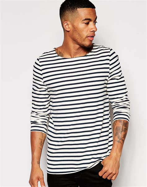 black and white boat neck striped shirt lyst asos stripe long sleeve t shirt with boat neck in