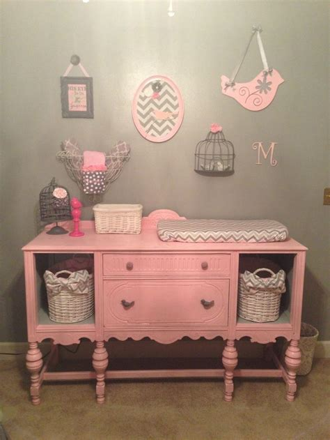 Pink And Grey Nursery With Reved Dresser Into Changing Pink Changing Table
