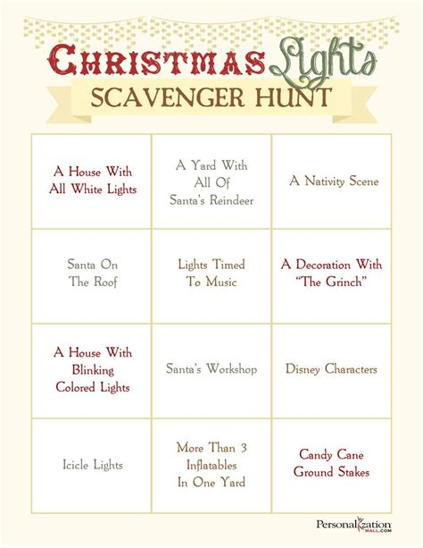 printable christmas light scavenger hunt pin by sherie martinez on christmas winter pinterest