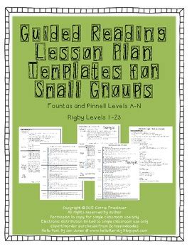 small reading lesson plan template guided reading lesson plan templates for small by