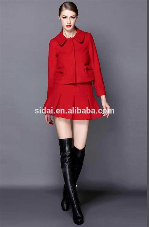 buy hot selling brand men red wool suit set latest coat fall winter famous brand morden women business wool red