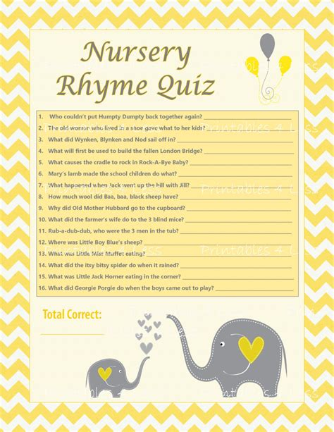 Nursery Rhymes Baby Shower by Diy Nursery Rhyme Quiz Chevron Baby Shower Activity Chevron
